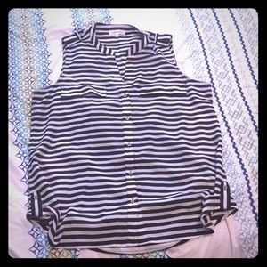 Calvin Klein black and white buttoned tank